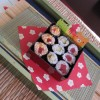 Sushi completed and served